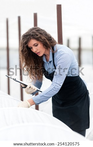 Female researcher technician studying with a clipboard, pen and gloves, dressed in office clothes,office shirt and apron in all withe greenhouse. - stock photo