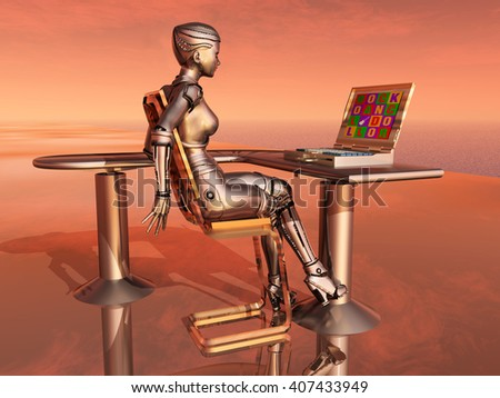 Female robot and laptop Computer generated 3D illustration - stock photo