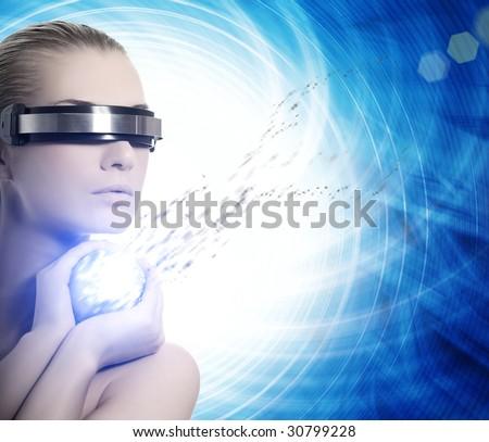 Female robot. Nanotechnology concept - stock photo