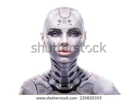 Female robot portrait. Cyber-girl looking into the camera - stock photo