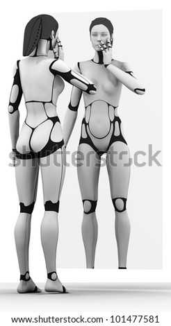 Female Robot reflecting in mirror - stock photo