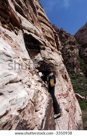 Female rock climber at Red Rocks, Las Vegas - stock photo