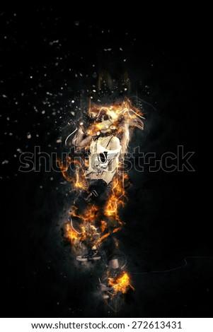 Female rock singer on fire - stock photo