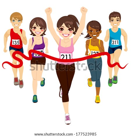 Female runner winning a marathon against other active competitors touching red finish line - stock photo