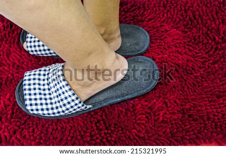 Female's feet with slippers. - stock photo