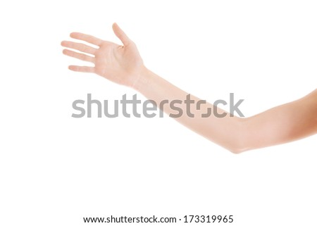 Female's hand stretched out. Isolated on white. - stock photo