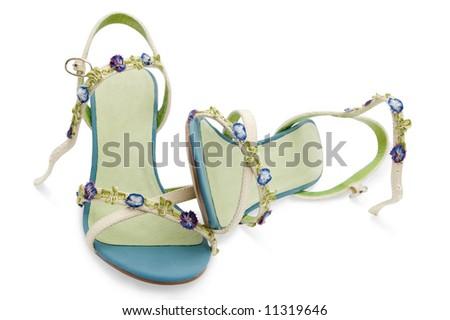 female sandals isolated on white background - stock photo