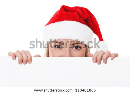 Female santa holding a christmas white card with a space for your message - isolated on a white background.