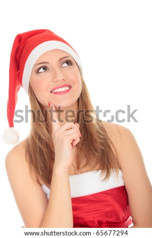 Female Santa looking up over a white background - stock photo