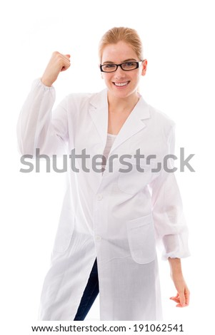 Female scientist celebrating success - stock photo