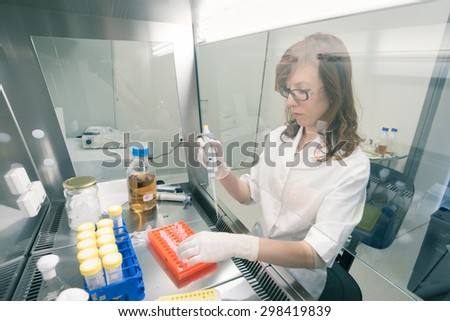 Female scientist researching in laboratory, pipetting cell culture medium samples in laminar flow. Life science professional grafting bacteria in the pettri dishes. Photo taken from laminar interior. - stock photo