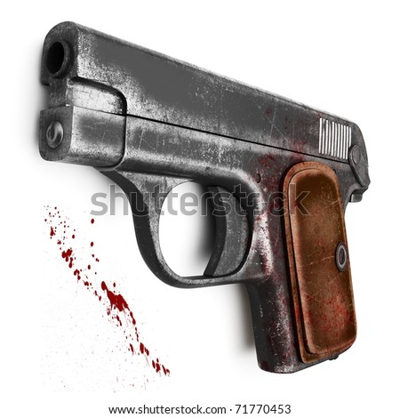 Female scratched Colt pistol, isolated on a white background - stock photo