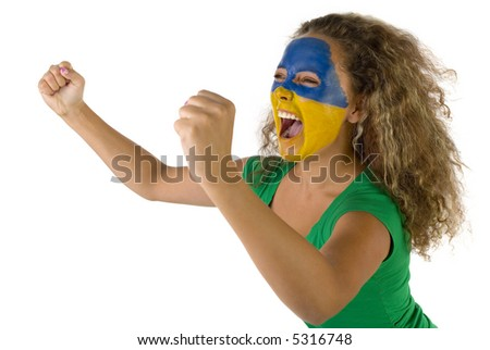 Female screaming fan with painted Slovakian flag on face. She's on white background. Side view.