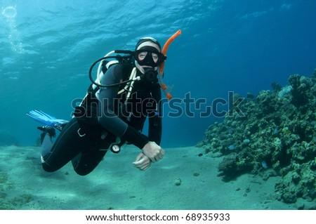 female scuba diver - stock photo