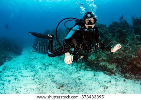 Female SCUBA diver on a reef - stock photo