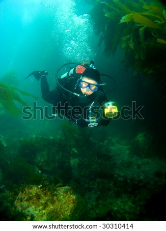 Female Scuba Diver swimming through the Kelp with a Camera in Catalina