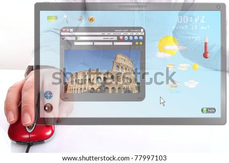 Female searching a information about holiday - stock photo