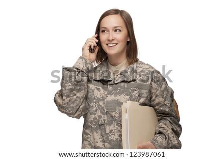 Female Serviceman on the phone - stock photo