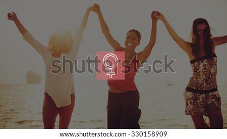 Female Sexual Gender Women Girl Icon Concept - stock photo