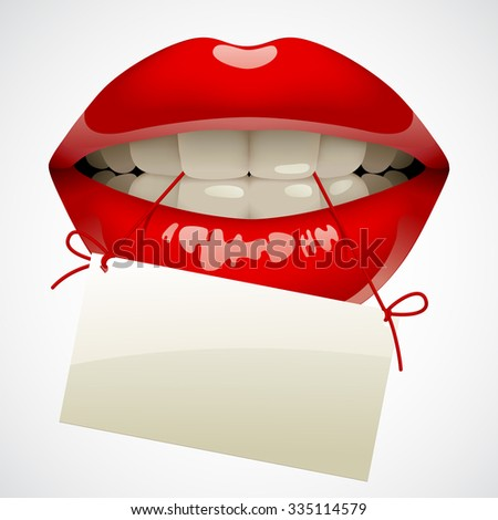 Female sexy gloss red lips with a visiting card in the teeth. Opened sensual mouth of woman with business card - stock photo