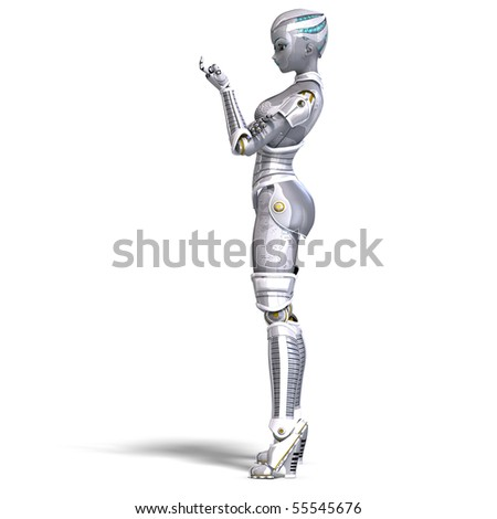 female sexy metallic robot. 3D rendering with clipping path and shadow over white