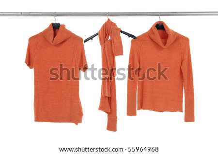 female shirt, on Hangers - stock photo