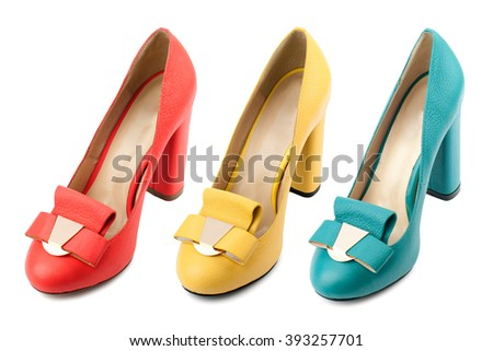 Female shoes collection isolated on white background.Top view.
