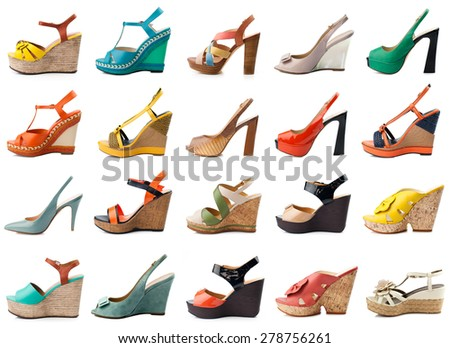 Female shoes collection on white background - stock photo