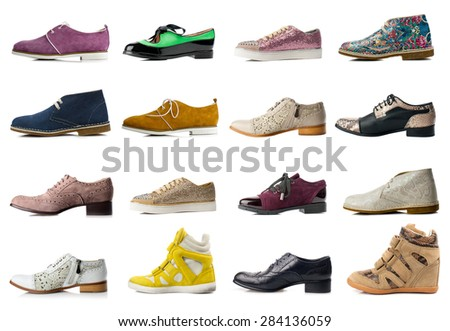 Female shoes collection on white background. - stock photo