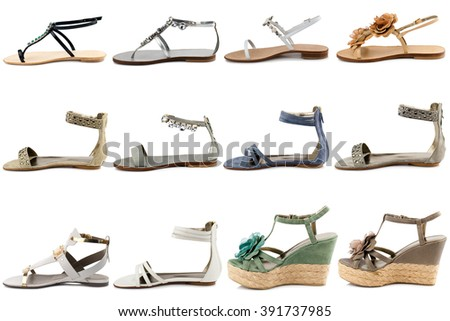 Female shoes collection on white background.Front view - stock photo