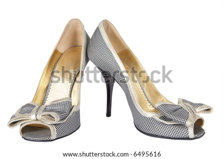Female shoes on a high heel on a white background