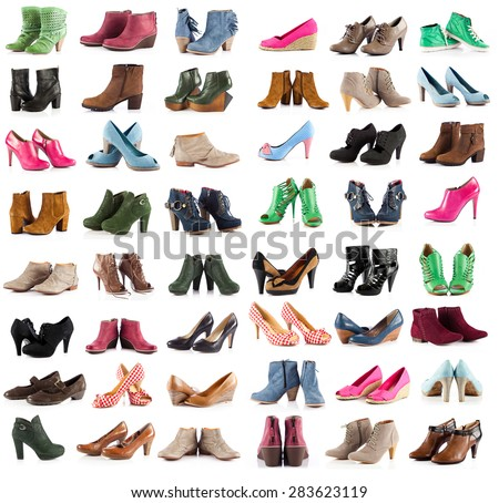female shoes over white. shoes collection on white background - stock photo