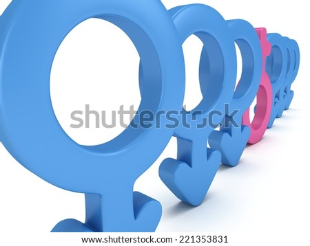 Female sign in row of Male signs on white background. 3D render. Gender, sex, love, man and woman concept. - stock photo