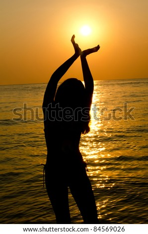 Female silhouette against a decline in sea - stock photo