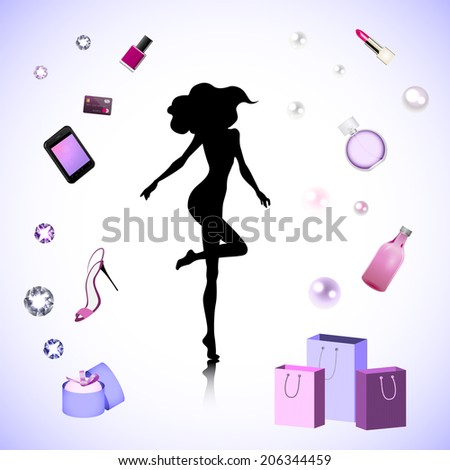 Female silhouette on the fashion cosmetic background