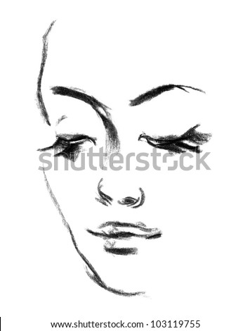 Female silhouette. Portrait of beautiful girl. Hand-drawn. Drawing in pencil - stock photo