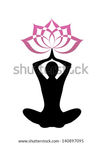female silhouette yoga. Above her head, a lotus flower  - stock photo