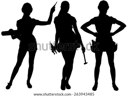 Female silhouettes with tools. Isolated white background - stock photo