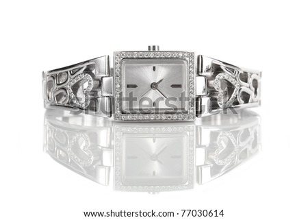 Female silver wrist watch with diamonds, isolated on white