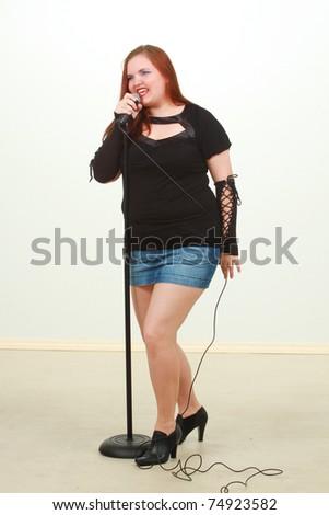 Female singer - stock photo