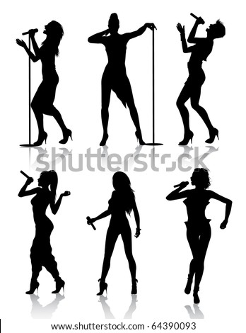 Female Singers Silhouette Set (also available vector version of this image) - stock photo