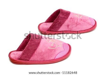 Female slippers isolated on a white background - stock photo