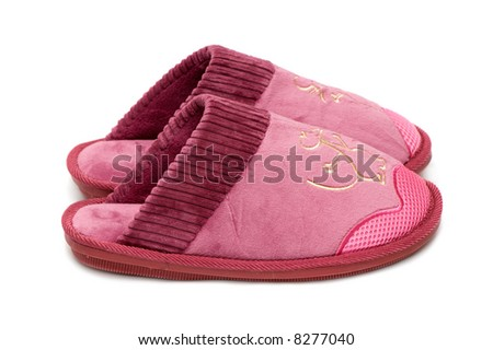 Female slippers isolated on a white background. - stock photo