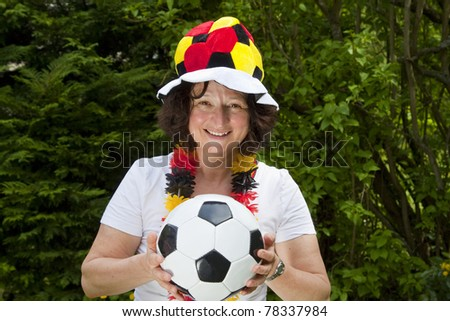 Female soccer fan with hat- outdoor shot