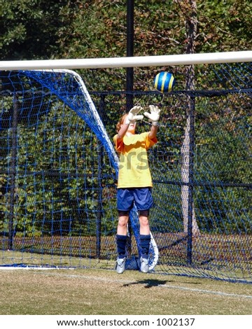 Female Soccer Goalkeeper jumps to make the save - stock photo