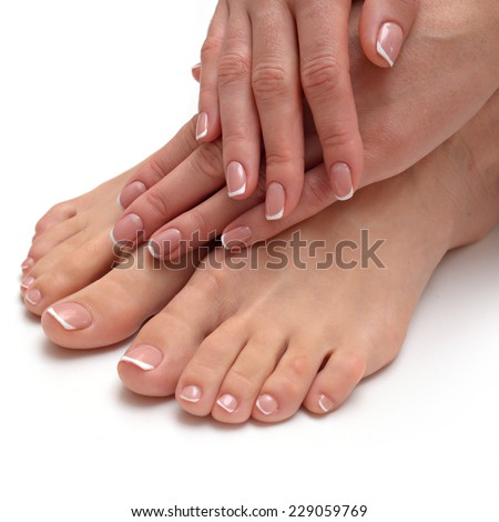 Female soft hands with beautiful french manicure - stock photo