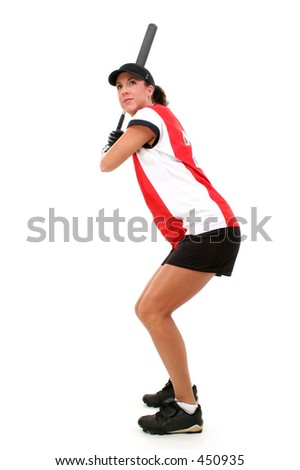 Female Softball Player Ready To Bat. - stock photo