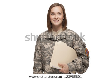 Female Soldier holding files - stock photo