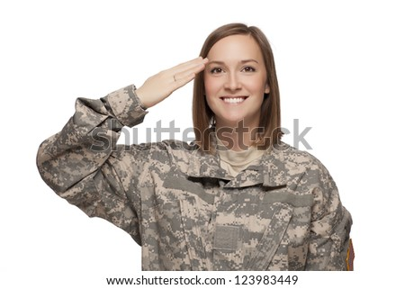 Female Soldier saluting - stock photo