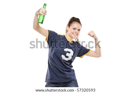 Female sport fan celebrating isolated on white background
